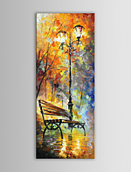 IARTS Oil Painting Modern Abstract Knife Long Bench Under Street Lights Hand Painted Canvas with Stretched Frame