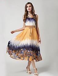 TS Vestido (Gasa) Playa/Casual/Impresión/Bonito - Medio - Cinturón Incluido