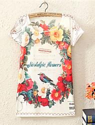 Vrouwen Sexy Alle seizoenen T-shirt,Uitgaan Bloemen Ronde hals Korte mouw Meerkleurig Katoen Medium