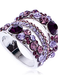 Arinna 18k white gold GP Garnet Purple Violet clear Crystal Finger Ring J1056