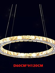 LED Crystal Pendant Lights Lighting Lamps Modern Fixtures Amber K9 Crystal Round Single Ring 60CM