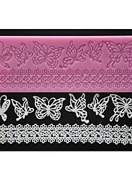 Vier c Prägematte Kuchen Schmetterlingsdekor Silikonkissen Farbe Rosa