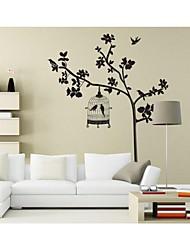 stickers muraux, stickers muraux de style oiseau noir sur les arbres pvc stickers muraux