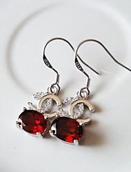 Women Casual Crystal Hook  Garnet Earrings