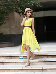 Women's Round Collar Irregular Chiffon Dress(More Colors)