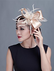 Women Wedding/Party Satin Fascinator with Feathers 1990
