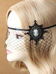 Vintage Black Lace Face Covering Veil Flower  Headdress