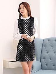 Women's OL Style Simplicity Polka Dot Contrast Color Sheath Dress