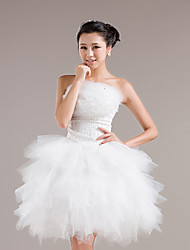 Dress Ball Gown Strapless Knee-length Tulle with Sequins / Cascading Ruffles