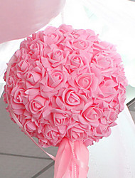 "10.2"" Modern Style Pink Simulation Flower Ball with Yarn Cloth Plastic Decorative Flower Ball"