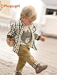 Boy's Spring Autumn Long Sleeve Bear T-shirts + Plaid Shirts + Casual Pants 3pcs Sets (Cotton)