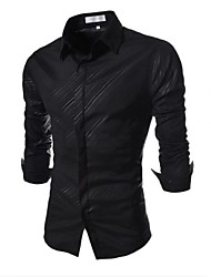 Men's Casual Dark Twill Dress Shirt (Cotton/Polyester)