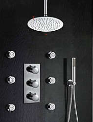 Thermostatic Shower Valve 10 Inch Rain Shower Three Handle Brass Spa Body Massage Spray Jets