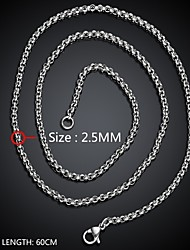 Maya Fashion Daring Simple Man Stainless Steel Chain Necklace(Gray)(1Pcs)