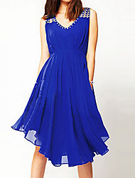 Women's Casual V-Neck Sleeveless Dresses (Chiffon)