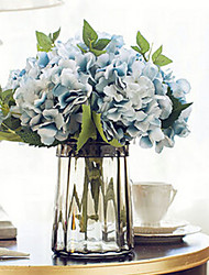 Six Blue Hyfrangeas Artificial Flowers With Grey Vase