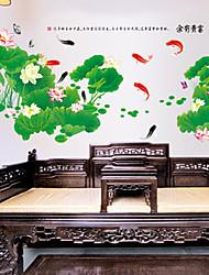 etiqueta de la pared dormitorio / salón pvc estanque de lotos extraíble ambiental