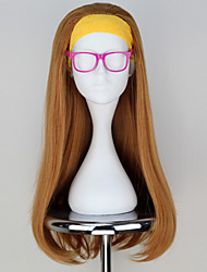 New Movie Big Hero 6 Honey Lemon Long Wavy Dark Yellow Movie Cosplay Wig with Hair band & Glass