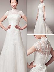 A-line Court Train Wedding Dress -High Neck Lace