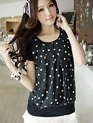 Women's Summer New Fashion Short Sleeve Chiffon T-hirt with Dot