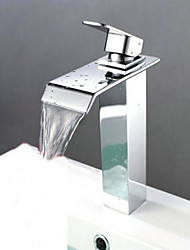Brass Single Handle Square Style Bath Bathroom Vessel Sink Waterfall Faucet Tap Chrome Finish