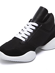 Women's Dance Shoes Dance Sneakers Fabric Low Heel Black