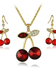 Europe And The USA Cherry Type Alloy Necklace And Earrings Jewelry Set