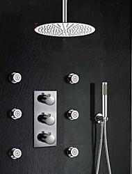 Contemporain Montage mural Thermostatique with  Soupape en laiton Trois poignées trois trous for  Chrome , Robinet de douche