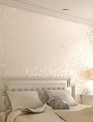 papier peint contemporaine crémeux dessins de fleurs blanches avec mur d'arrivée de poudre d'or couvrant l'art non-tissé mur de papier