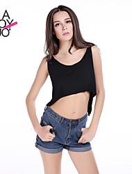 haoduoyi® Women's Back Cross Forked Tail Loose Sleeveless Crop Vest
