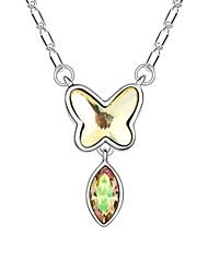 mariposa como collar corto música plateado con 18k verdadera junquillo platino cristalizó piedras de cristal austríaco