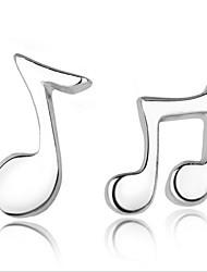 Brincos Curtos Prata de Lei Notas musicais Jóias Para Festa Diário Casual 2pçs