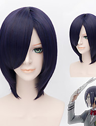 Tokyo Ghoul Kirishima Touka Wig Synthetic Short Straight Anime Cosplay Wig Mix Blue and Purple