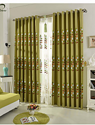 One Panel Green Embroidery Leaf Linen  Cotton Blend Curtain Drape