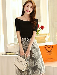 Women's Print In The Round Collar Short Sleeve Top Long Printed Organza Skirt Suit