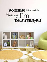 decalques de parede adesivos de parede, nada é inglês palavras impossíveis&cita parede pvc adesivos