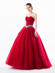 Formal Evening Dress - Burgundy Petite Ball Gown Sweetheart Floor-length Organza / Tulle / Charmeuse