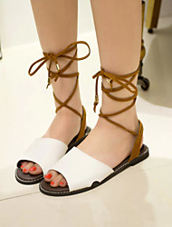 Women's Summer Ankle Strap / Open Toe Leather Outdoor / Office & Career / Dress / Casual Flat Heel Lace-up Multi-color