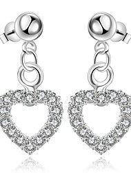 lureme® Fashion Style Silver Plated Heart Shape with Zircon Stud Earrings