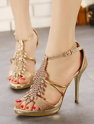 Women's Shoes Stiletto Heel Peep Toe Sandals Dress Gold