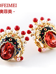 Peking Opera red crystal earrings earrings Korean fashion jewelry gifts national wind exaggerated ears