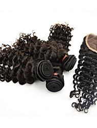 "4pcs lot 10 ""-28"" extensiones de cabello humano peruano sin procesar naturales profunda rizo negro con cierre 6a remy grado del pelo"