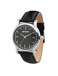 Men's Diamond Watch Genuine Leather Strap