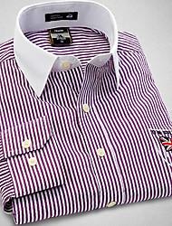 U&Shark New Hot! Men's British Style Navy Printing Long Sleeve Shirt with Purple and White Strips /CHD005