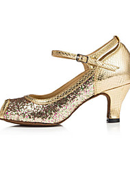 Non Customizable Women's Dance Shoes Latin Flocking Low Heel Gold