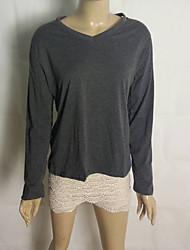 camisa de gola V de algodão de Coco Zhang mulheres