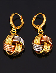 TopGold New Cute Multi Color 3 Tone Drop Earrings 18K Gold Plated Jewelry Gift for Women High Quality