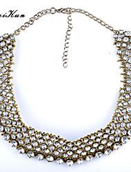 Women's  Grand UK Princess Kate Middleton Silver Rhinestone Collar Statement Necklace