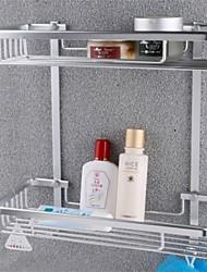 Bath Accessories Aluminium Double Tier Basket With Hooks