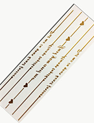 Always Together Heart Bracelet Jewelry Gold Tatoo Flash Tattoo Metallic Golden Temporary Tattoo Waterproof Tatto Sticker